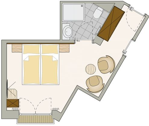 Floor plans of the rooms and apartments in the Allegra Sölden residence